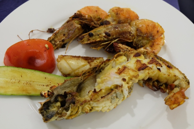 Derick's plate of grilled seafood.
