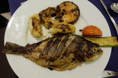 My plate of grilled seafood.